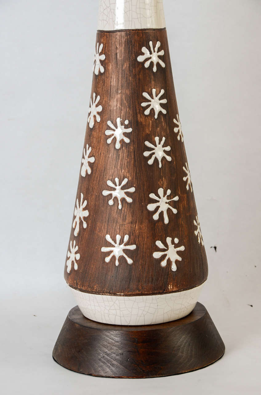 Pair of Ceramic Lamps in the Style of Jean Besnard In Excellent Condition For Sale In Bois-Colombes, FR