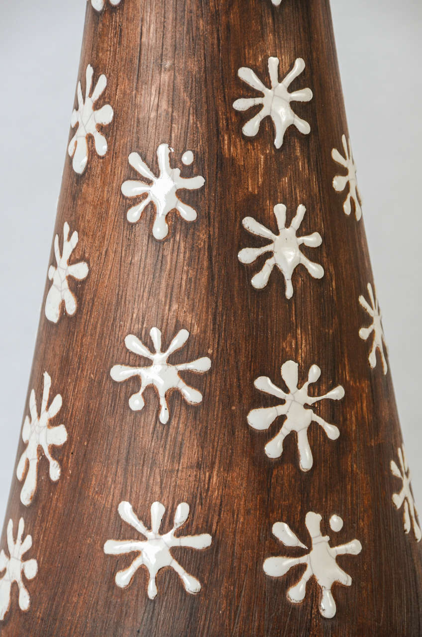 Mid-20th Century Pair of Ceramic Lamps in the Style of Jean Besnard For Sale