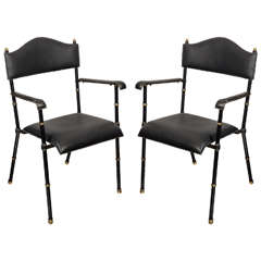 Pair of 1950s Armchairs by Jacques Adnet