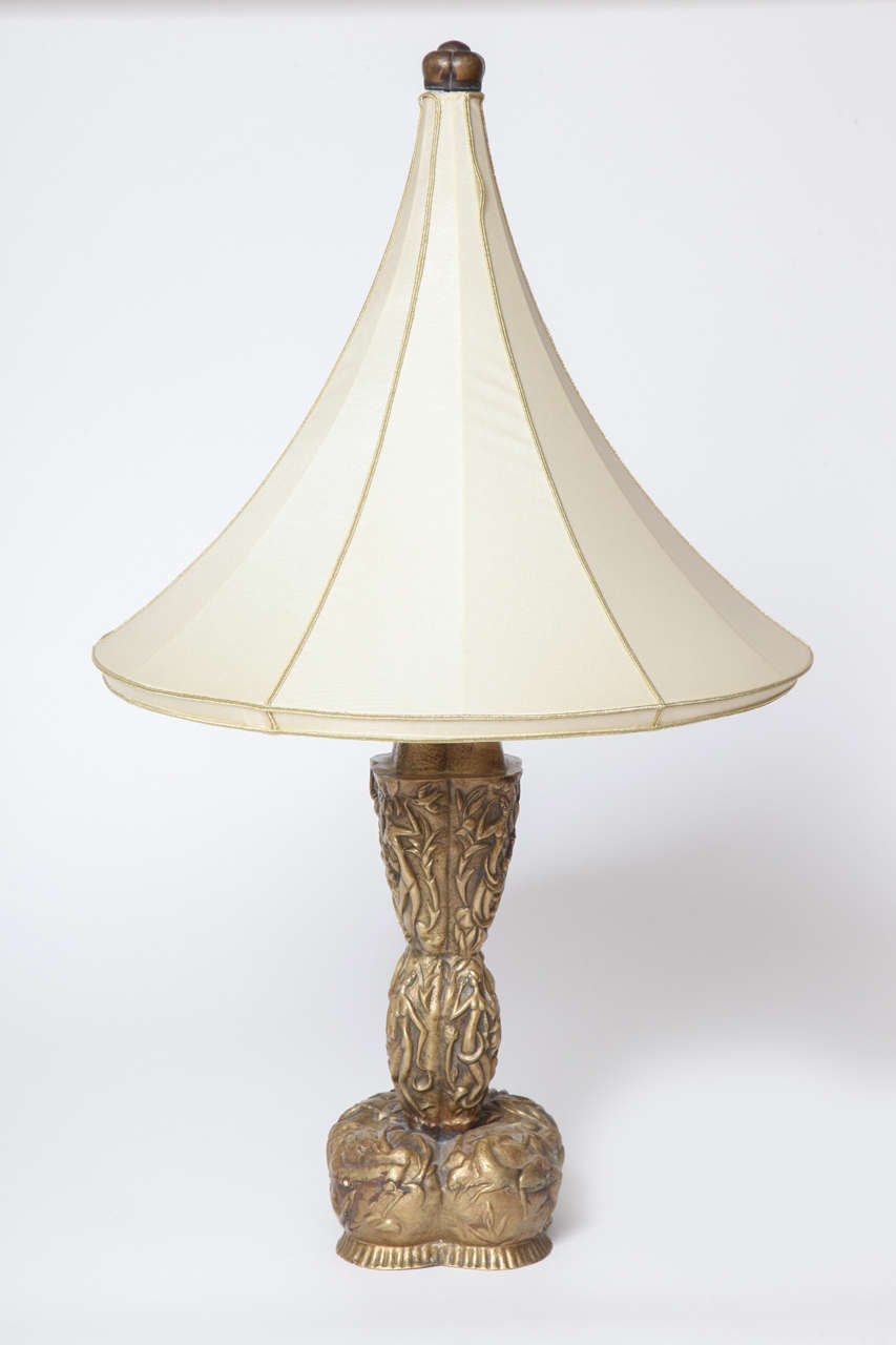 Karl Hagenauer Hand Hammered Brass Lamp, Unique, 1923 2