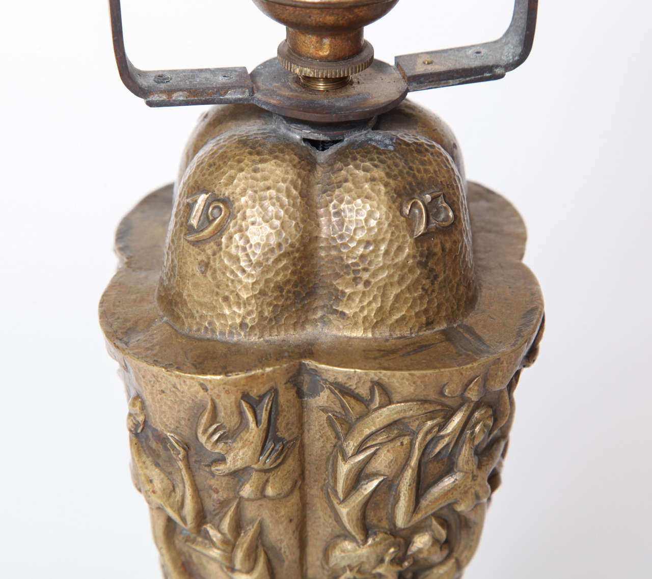 Karl Hagenauer Hand Hammered Brass Lamp, Unique, 1923 9