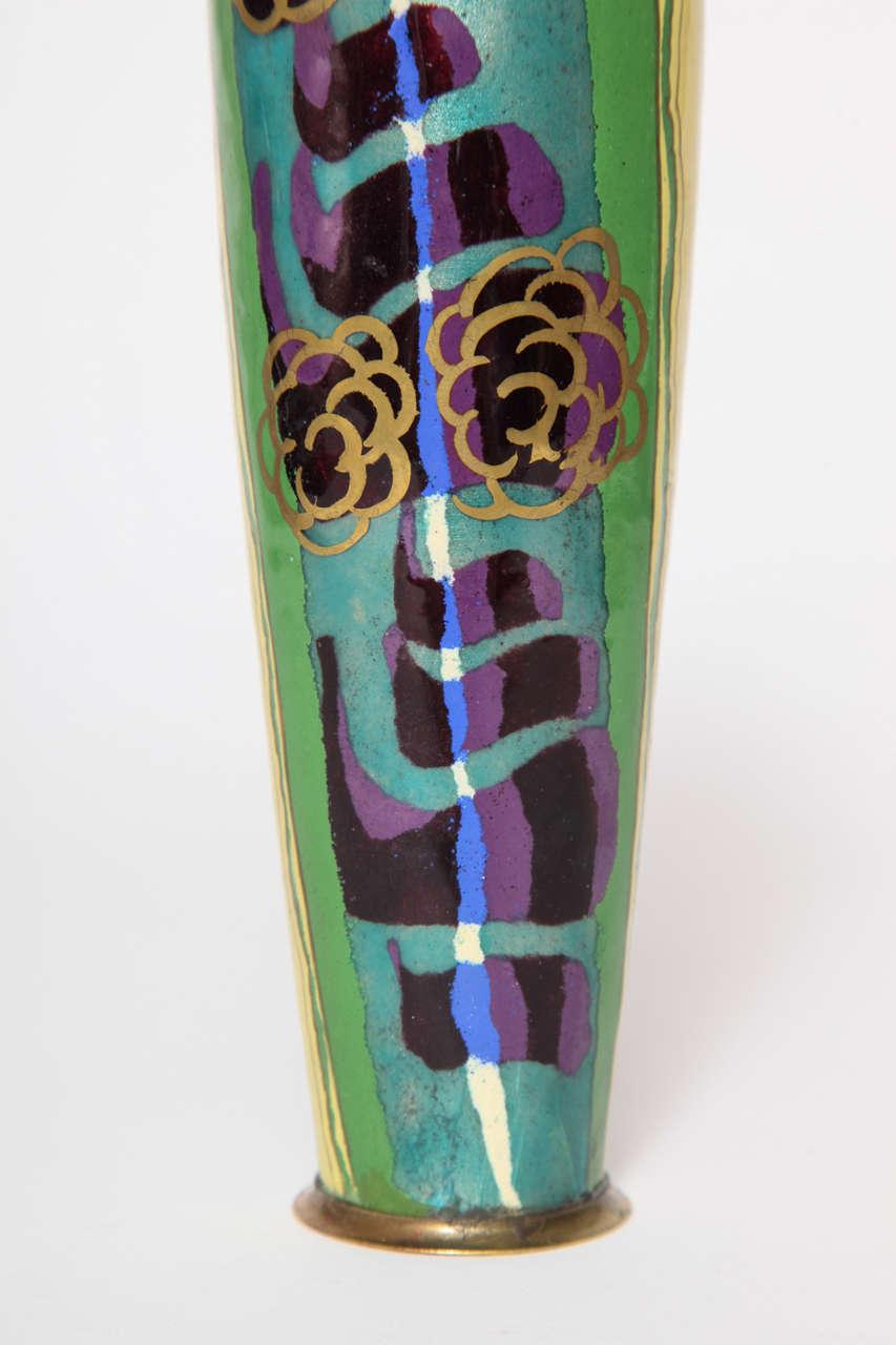 jules sarlandie limoges art deco enameled vase circa 1930 image 5. Black Bedroom Furniture Sets. Home Design Ideas