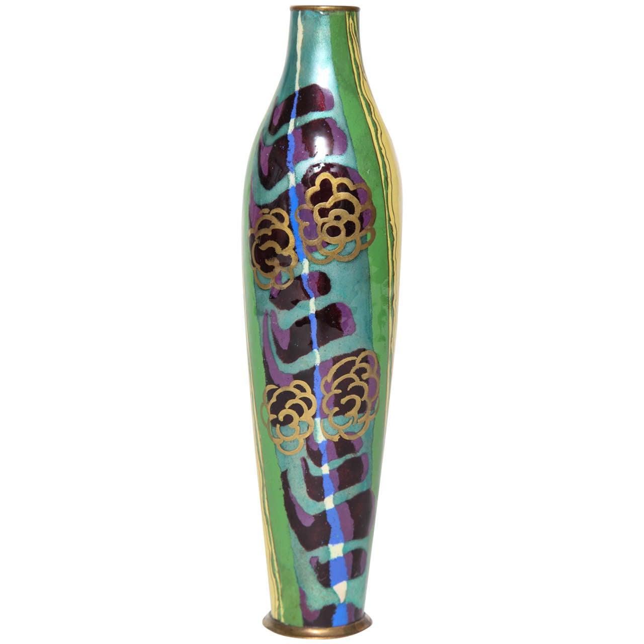 Jules Sarlandie Limoges Art Deco Enameled Vase Circa 1930