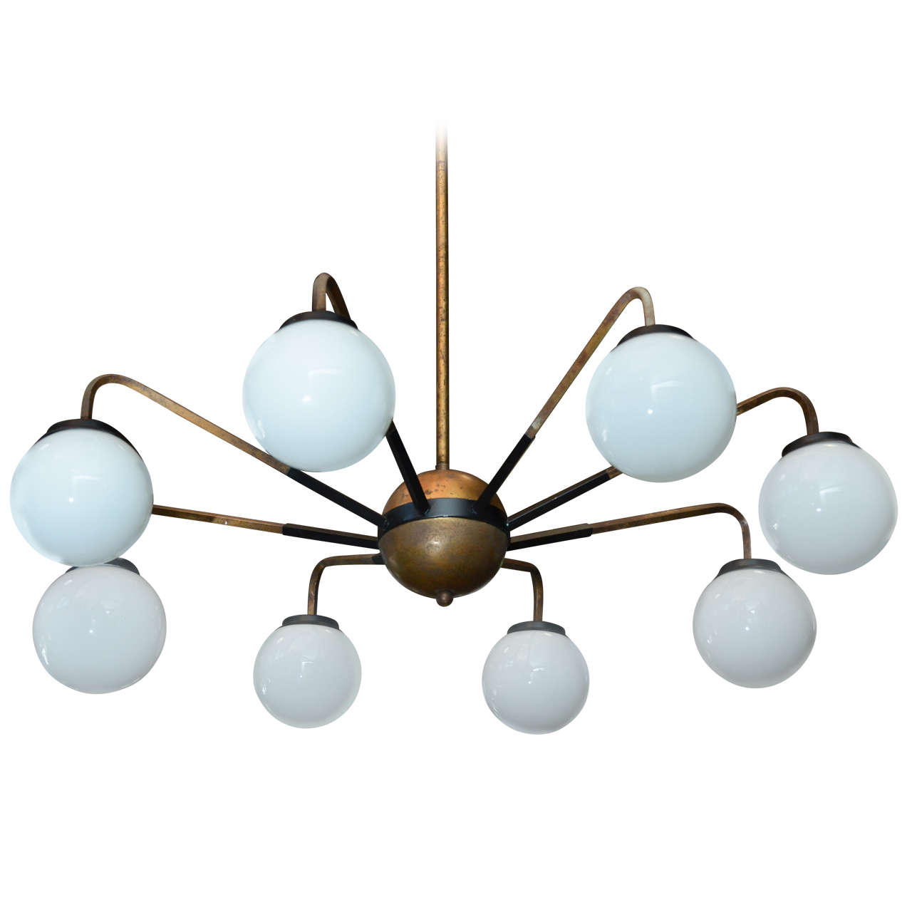 Italian mid century chandelier in plated aluminum with opaque glass italian mid century chandelier in plated aluminum with opaque glass globes for sale aloadofball
