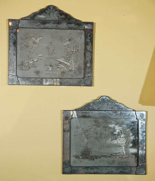 Pair of Antique Etched Glass Mirror Plaques 2