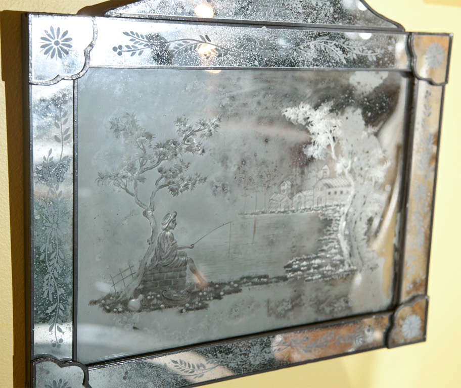 Pair of Antique Etched Glass Mirror Plaques 6