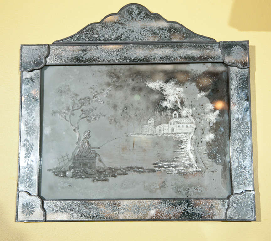 Pair of Antique Etched Glass Mirror Plaques 7