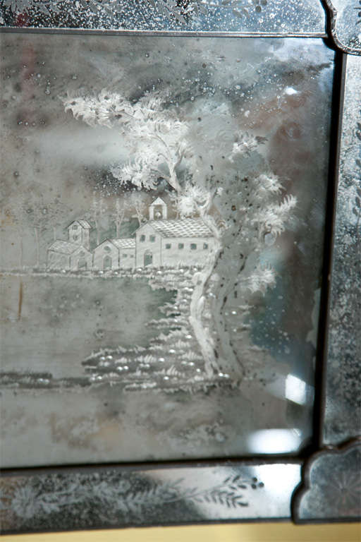 Pair of Antique Etched Glass Mirror Plaques 8
