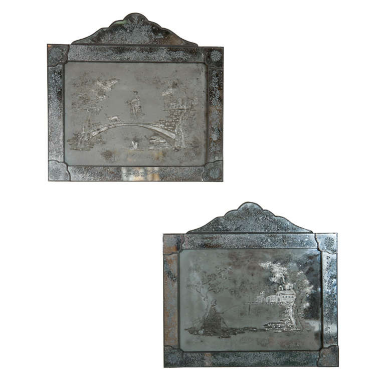 Pair of Antique Etched Glass Mirror Plaques 1