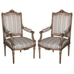 Pair of Louis XVI Style Maison Jansen Fauteuils