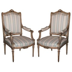 Pair Louis XVI Style Maison Jansen Fauteuils Arm Chairs Distress Painted Frames