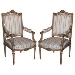 Pair Louis XVI Style Maison Jansen Fauteuils Arm Chairs Distress Painted Frames