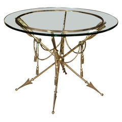 Glass Top Bronze Base End Table Attributed Jansen