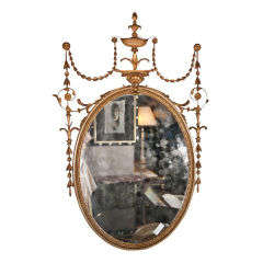 Antique Adams Style Oval Mirror