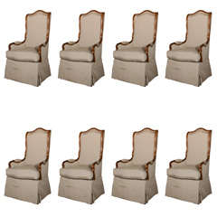 Set of 8 French Provincial Dining Arm Chairs
