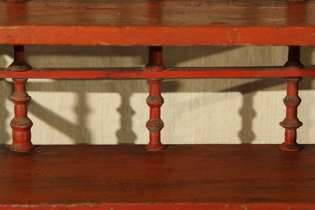 Old Paint Folk Art Spool Shelf In Distressed Condition For Sale In Seattle, WA