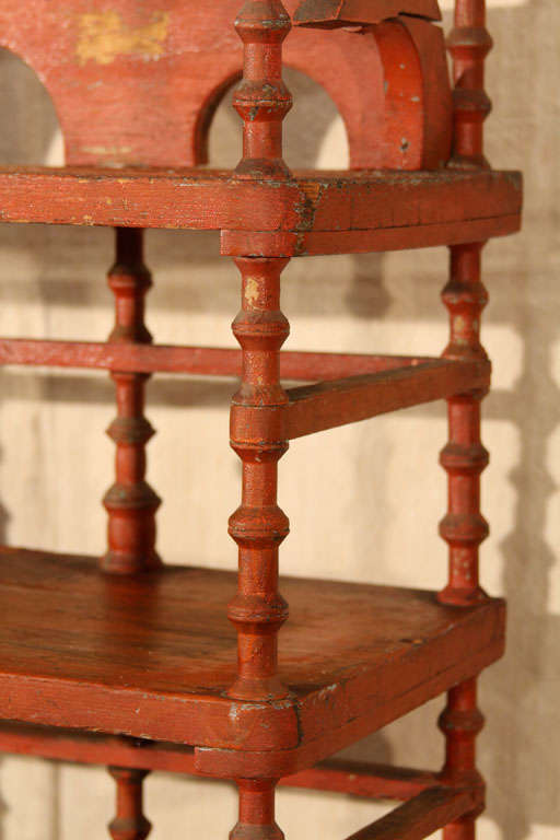 19th Century Old Paint Folk Art Spool Shelf For Sale