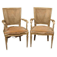pair armchairs with remnants of velvet upholstery