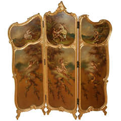 Rococo Style Parcel-Gilt and Painted Three-Fold Screen