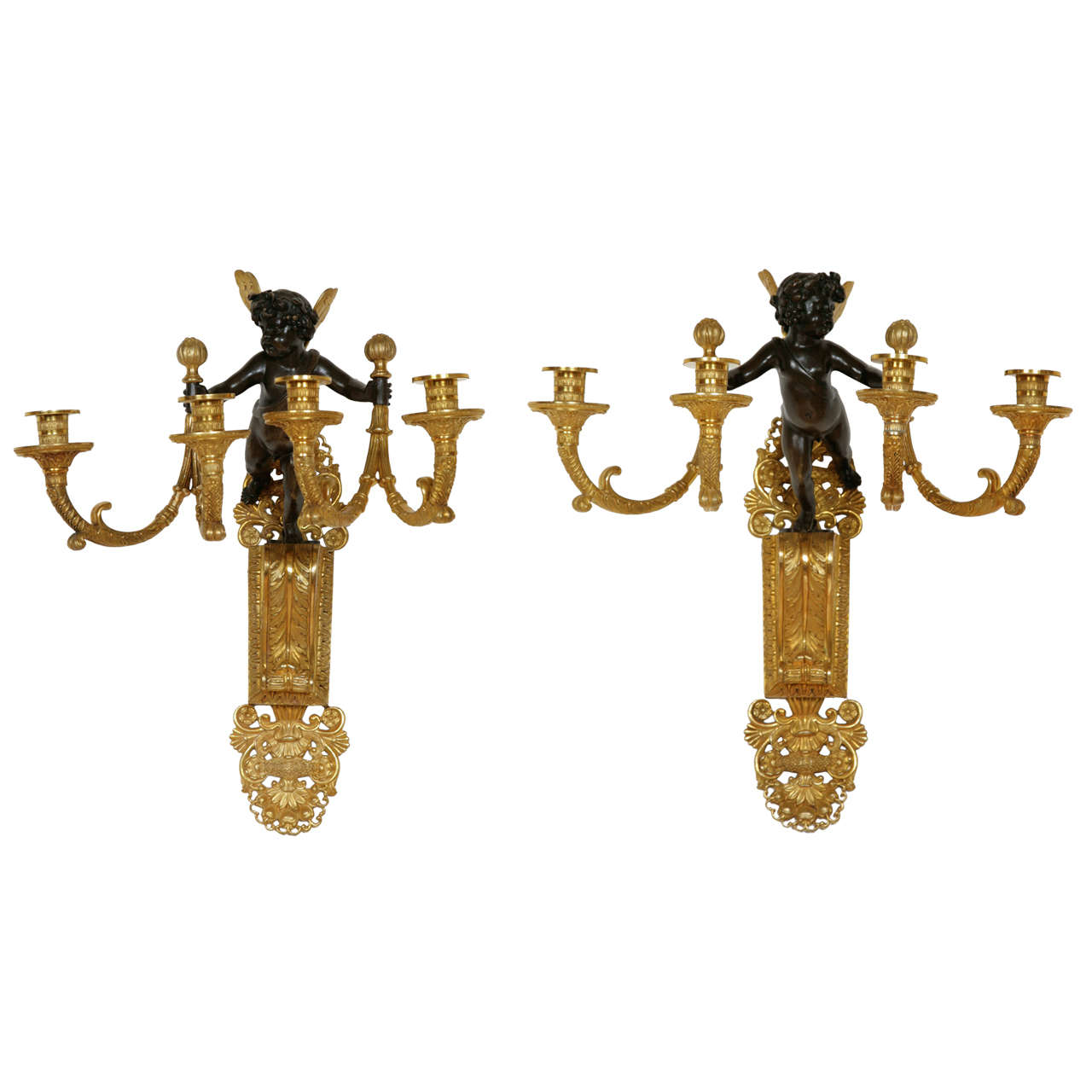 Pair of Restoration Period Gilt and Patinated Bronze Wall Lights