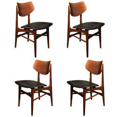 Set of four Scandinavian shield back chairs