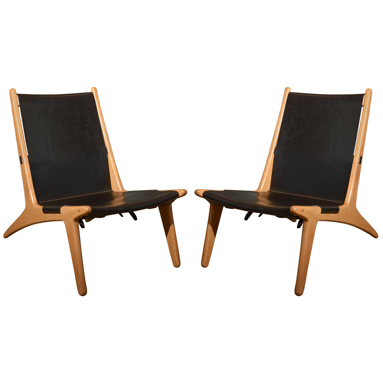 "Pair of Swedish 1954 ""Hunting Chair"" model 204 by Unar  Osten Kristansson"