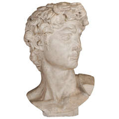 A large plaster buste of David after the model by Michelangelo, 1920's/1930's
