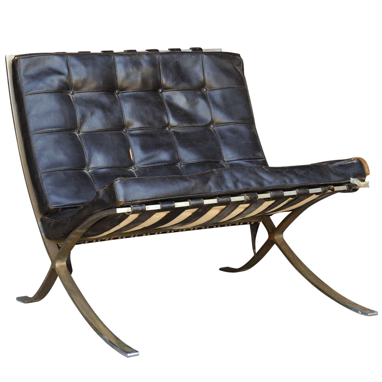 unrestored 50ies barcelona chair by mies van der rohe for. Black Bedroom Furniture Sets. Home Design Ideas