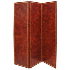 Three-Fold Leather and Gold Embossed Screen