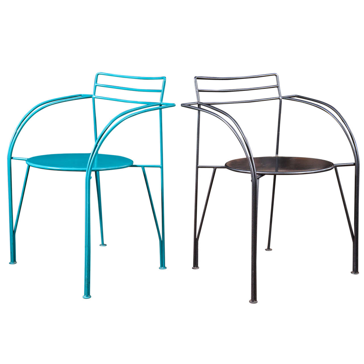 Pair Of Powder Coated Lune Du0027Argent Metal Armchairs For Sale