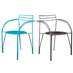 Pair of Powder-Coated Lune d'Argent Metal Armchairs