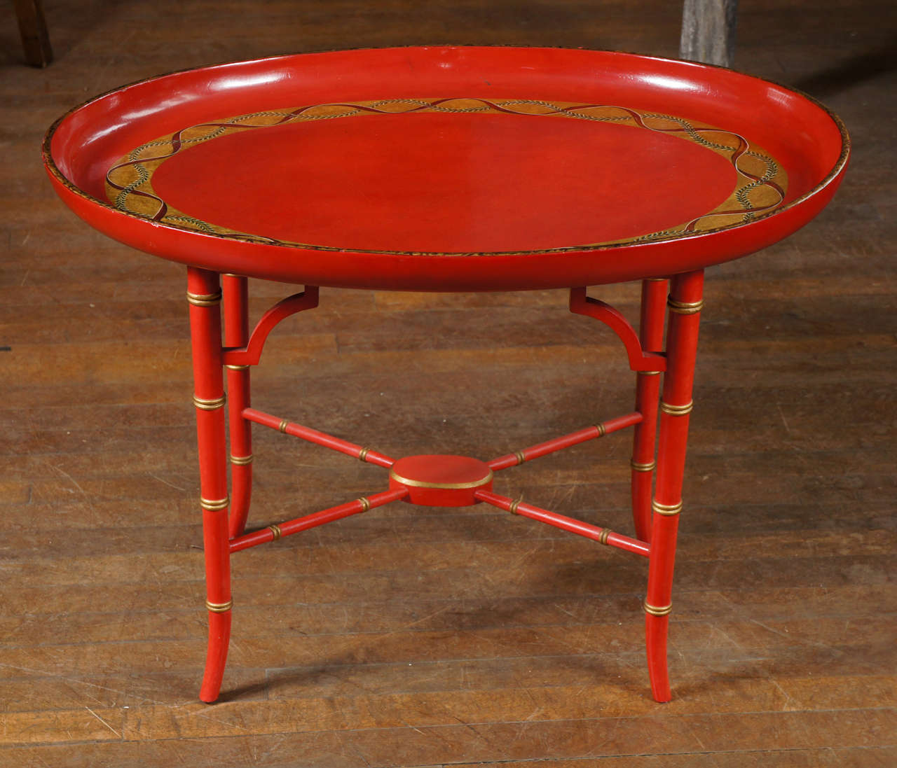 English Scarlet & Gilt Wooden Tray On Later Faux Bamboo Stand 2