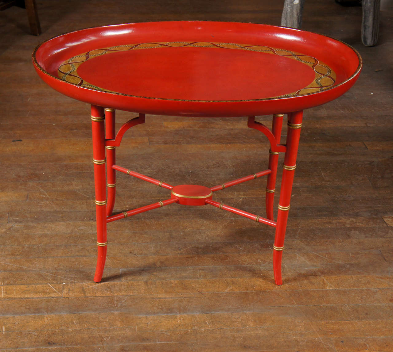 British English Scarlet & Gilt Wooden Tray On Later Faux Bamboo Stand For Sale