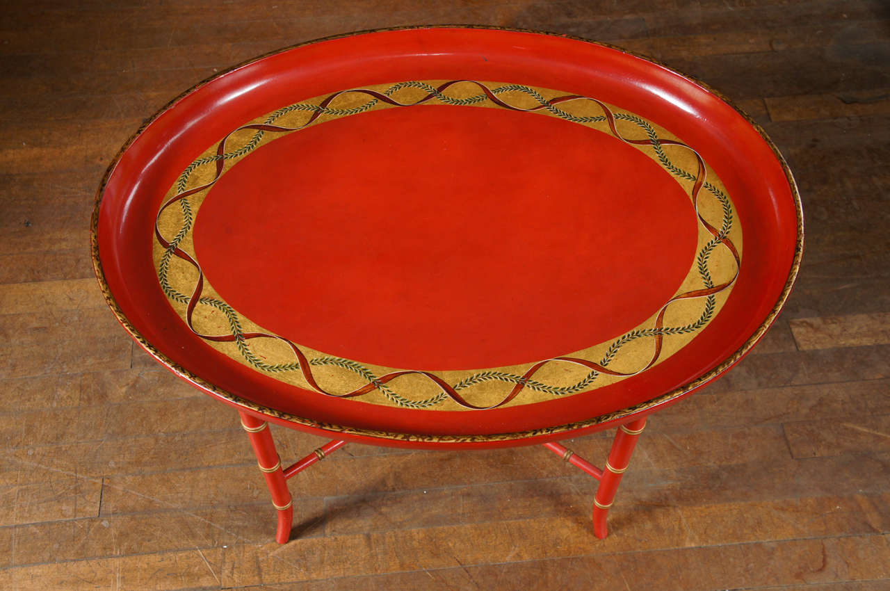 20th Century English Scarlet & Gilt Wooden Tray On Later Faux Bamboo Stand For Sale