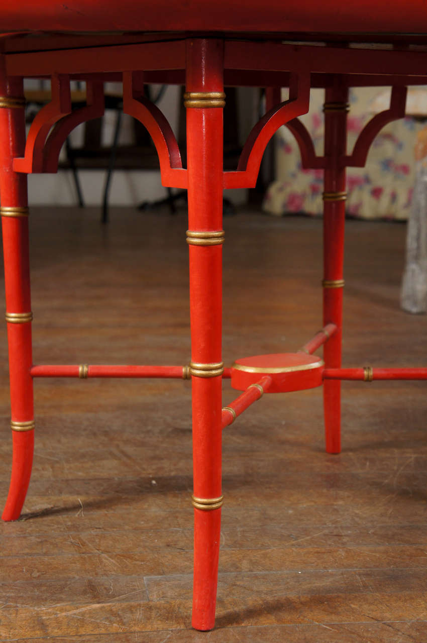 English Scarlet & Gilt Wooden Tray On Later Faux Bamboo Stand For Sale 1