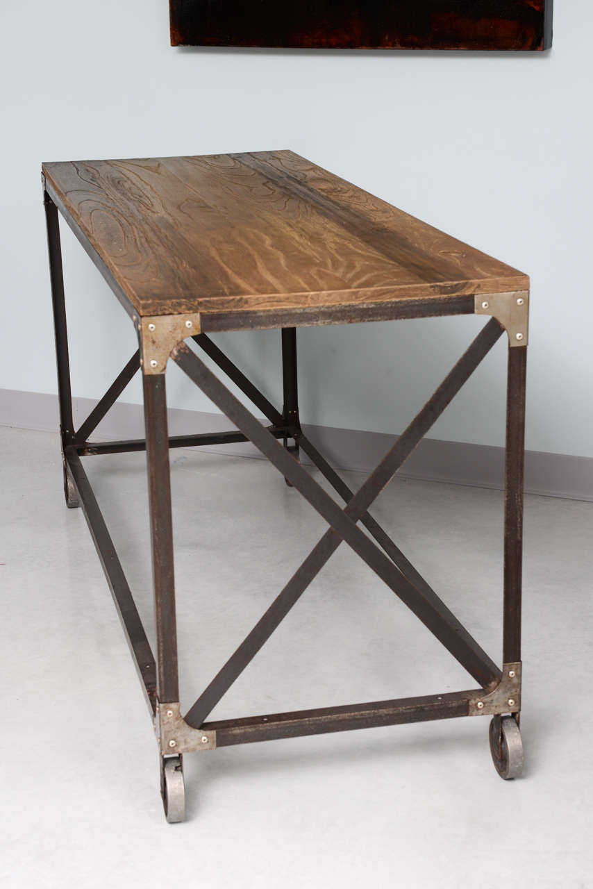 Industrial console or sofatable on wheels at stdibs