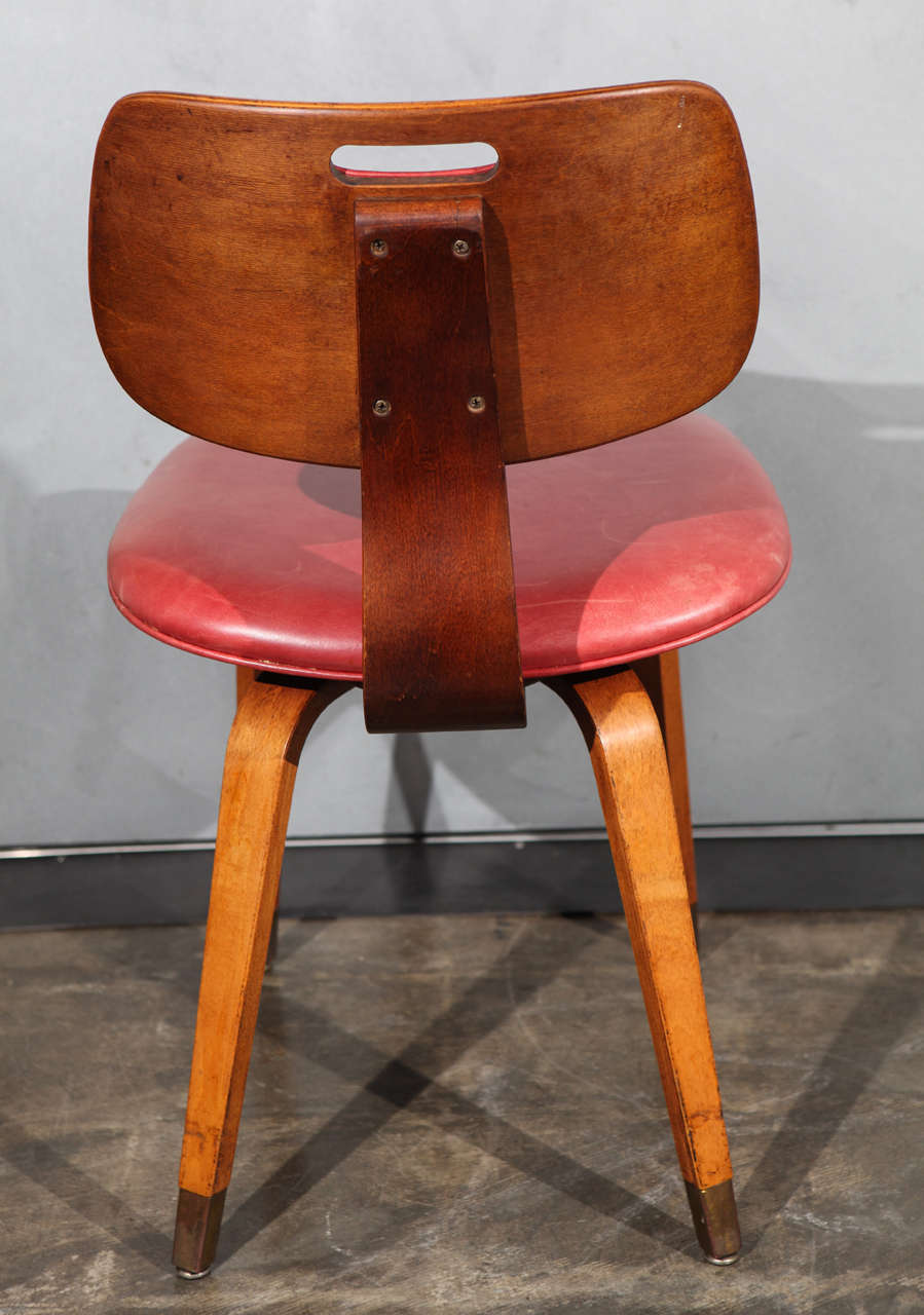 Wood Set Of Four Midcentury Thonet Chairs With Red Leather Upholstery For