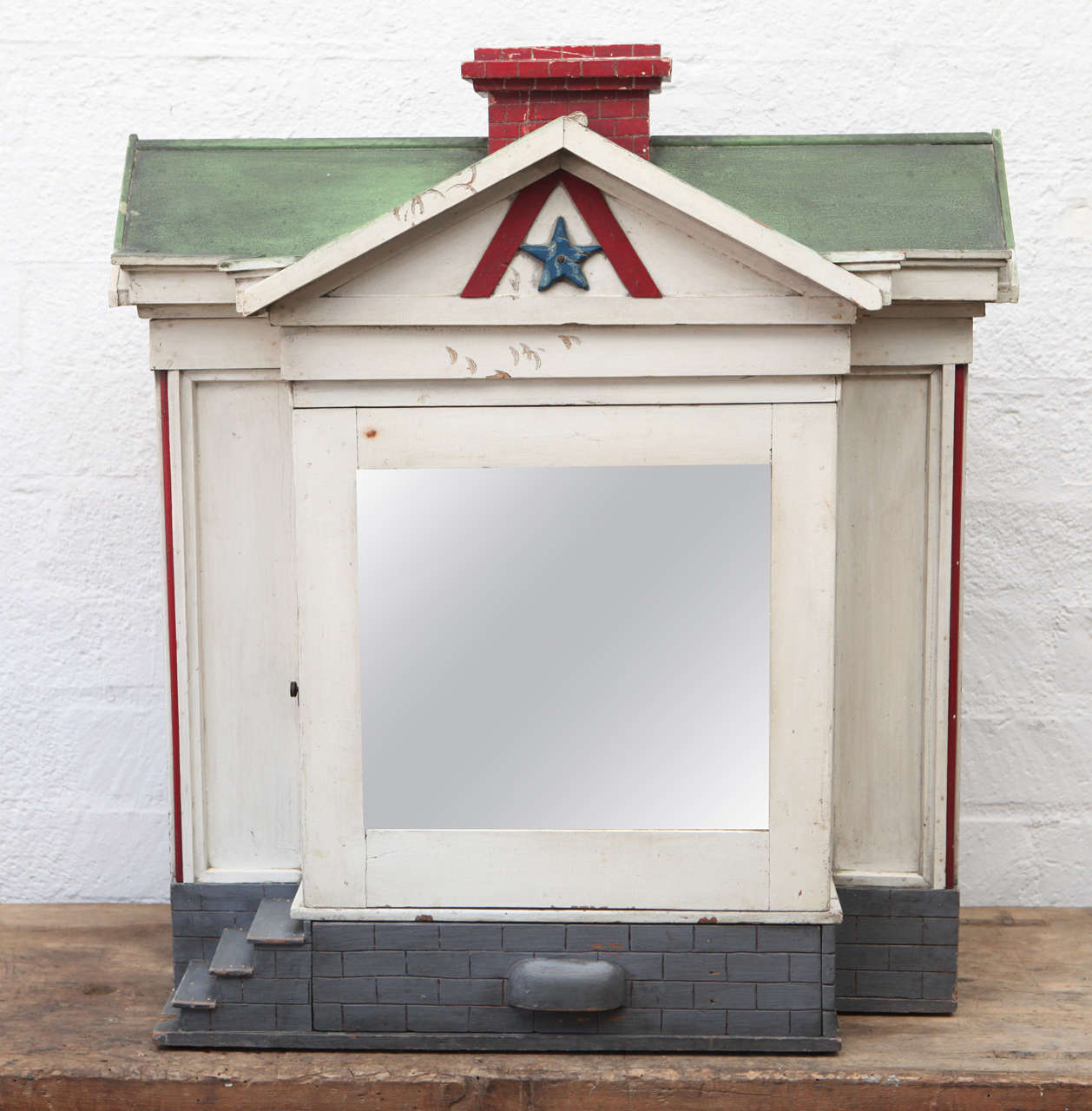 Odd Fellow Folk Art Makeup House With Secret Compartments