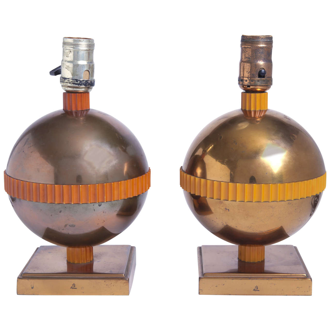 unmatched pair of chase planet art deco table lamps by. Black Bedroom Furniture Sets. Home Design Ideas