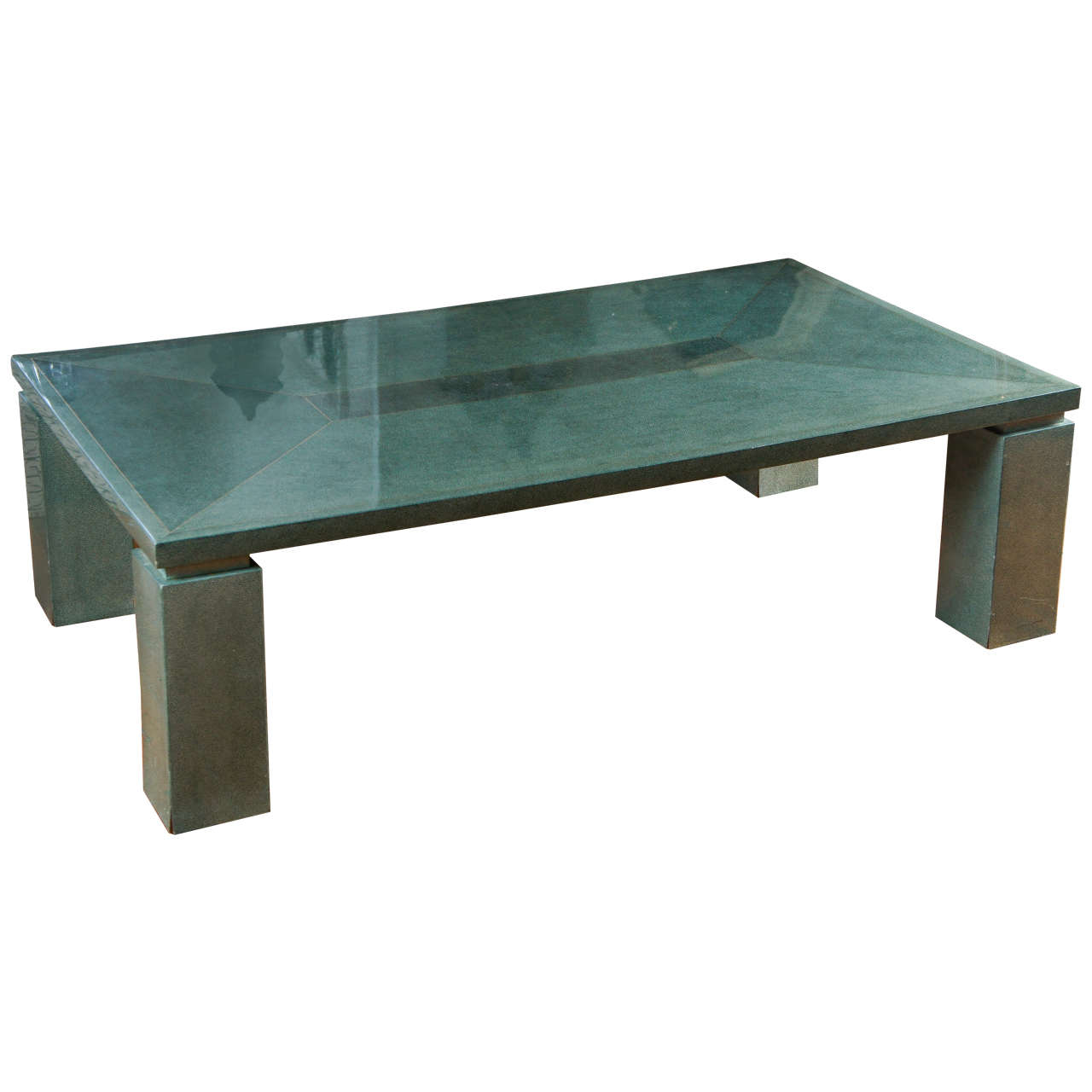 vintage faux shagreen coffee table with brass inlay at 1stdibs