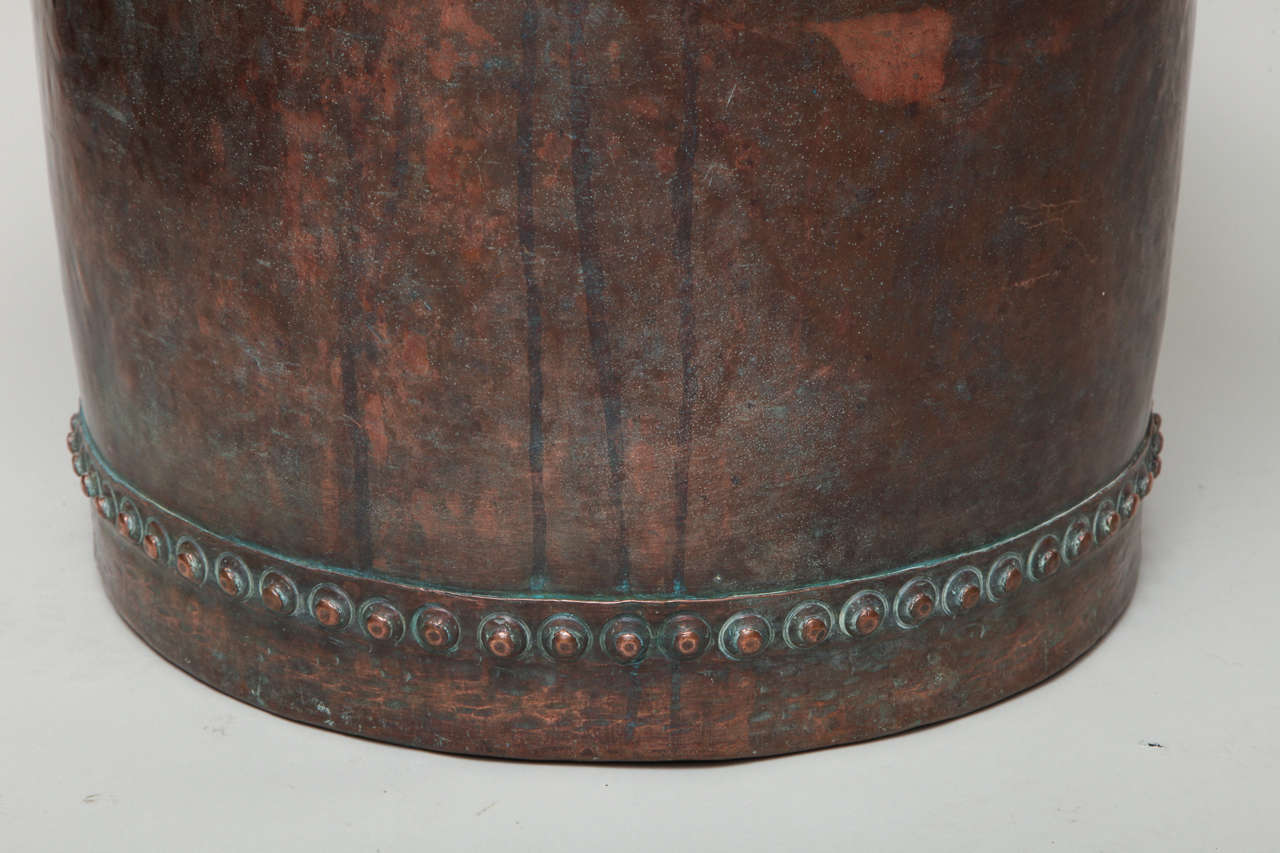 Fantastic Riveted Copper Early 19th Century Oversize Log Bin For Sale 1