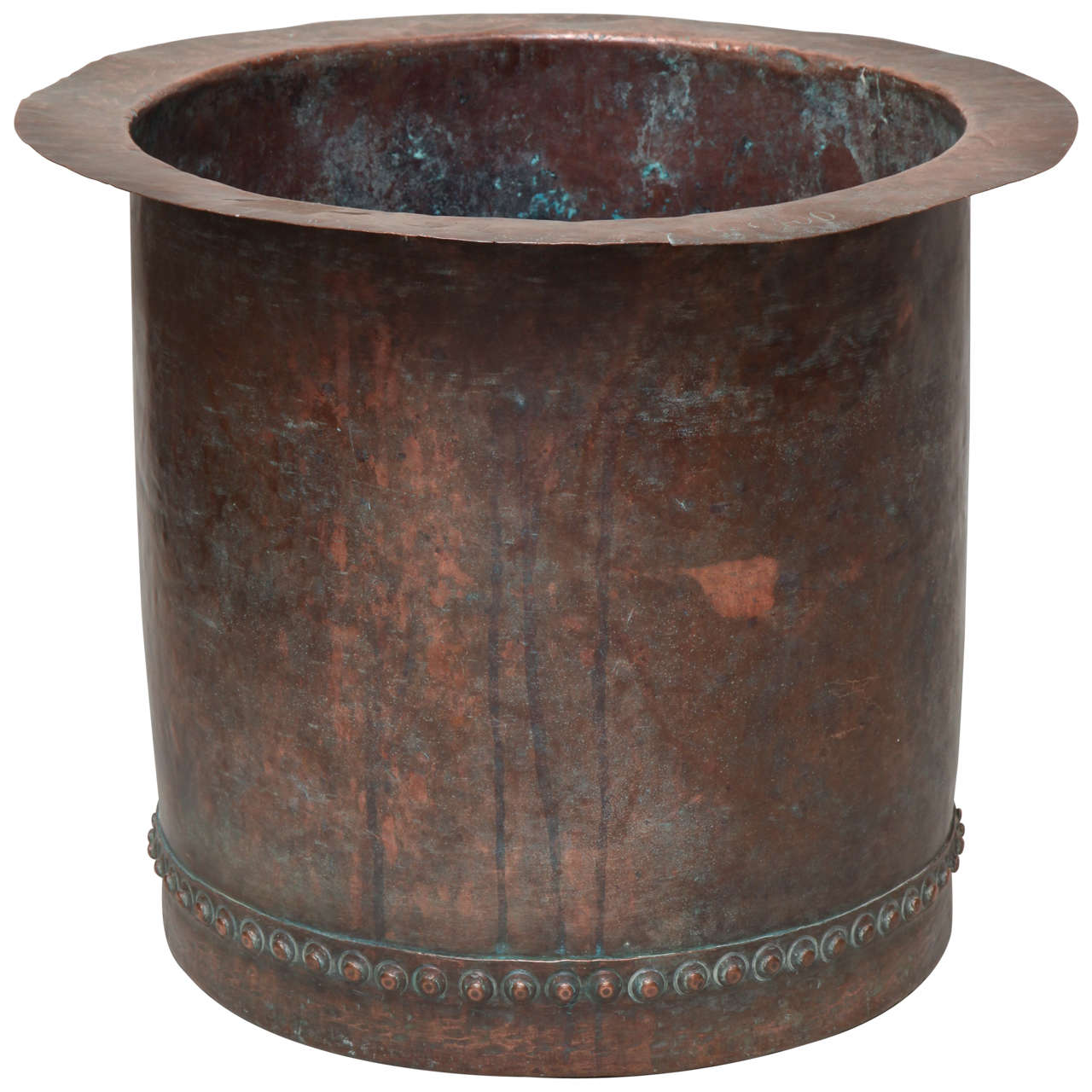 Fantastic Riveted Copper Early 19th Century Oversize Log Bin For Sale