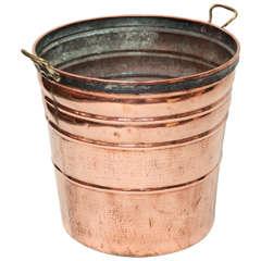 Tall Brass Handled Copper Bucket