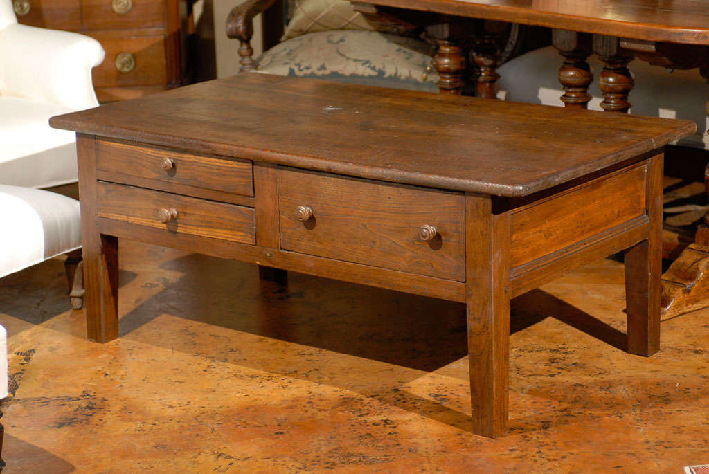 Rustic three drawer coffee table at 1stdibs for Rustic coffee table with drawers