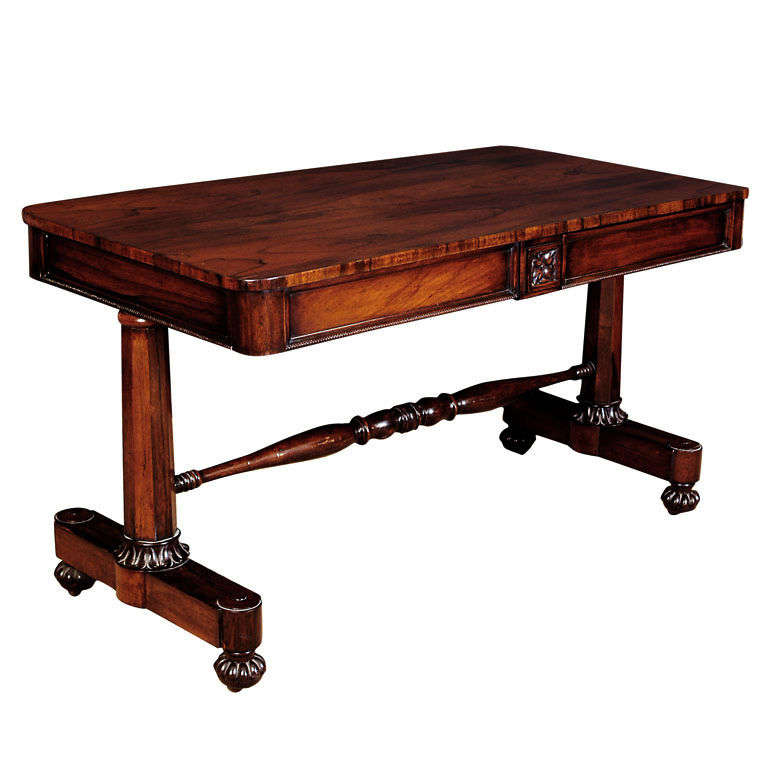 Floating Square Coffee Table In Green And Black Slatelike: William IV Rosewood Writing Table At 1stdibs