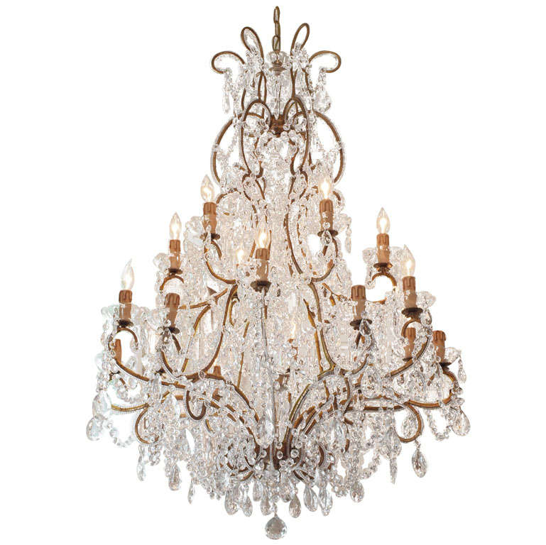 Large Italian Chandelier With Murano Glass Crystals For Sale