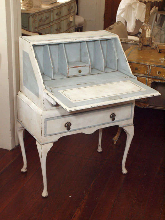 Swedish Style Painted Drop Leaf Secretary Or Desk At 1stdibs