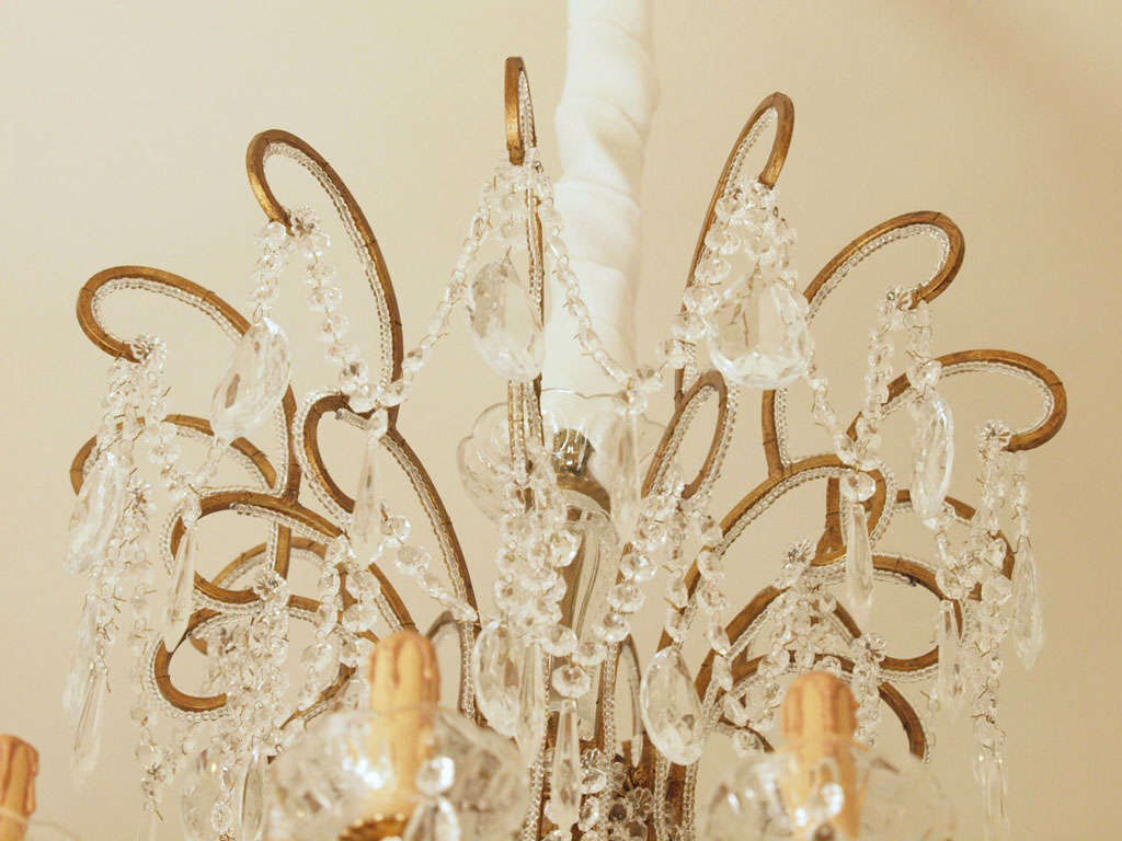 Impressive Italian Chandelier with Vintage Murano Glass Crystals 3