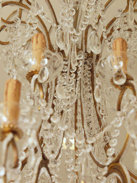 Impressive Italian Chandelier with Vintage Murano Glass Crystals 5