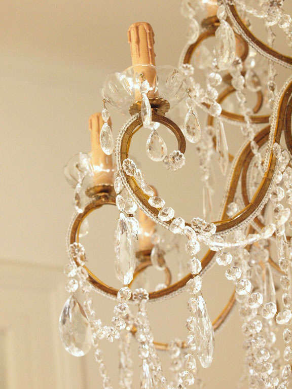 Impressive Italian Chandelier with Vintage Murano Glass Crystals 6